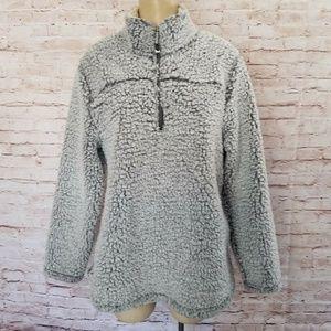 Green Tea 1/4 Zip Jacket Fleece Fuzzy Cozy